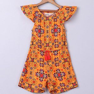 NWT Orange Mosaic Angel Sleeve Romper